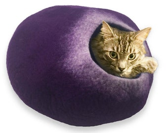 FREE SHIP Cave bed for cat dog ferret rabbit hamster - Purple and White - ships next day from usa / Cat Bed / Pet Bed / Hand Felted Wool