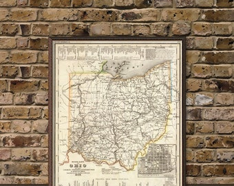 Ohio map - Historical map restored- Large wall map print