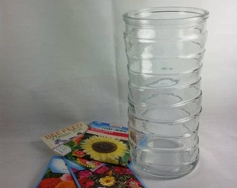 Large Vase, Clear Glass, Hoosier Glass Vase, Swirling Lines, Bamboo Style