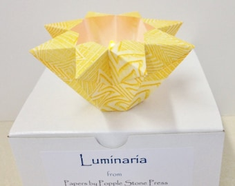 Small Luminary - Hand-painted, Origami-folded Paste Paper - Yellow