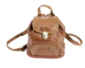 Vintage Retro Brown Leather Backpack