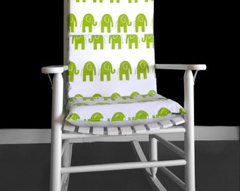 ON SALE Rocking Chair Cushion Cover - Elephant White Chartreuse Green, Ready to Ship