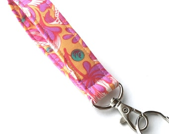 Keychain, Key Fob, Wristlet Lanyard with Snap, Pink and Orange Flowers