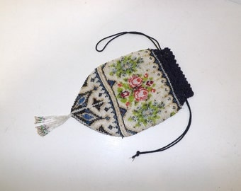 Antique Victorian large heavily beaded beadwork purse drawstring handbag bag floral flower detail with tassel