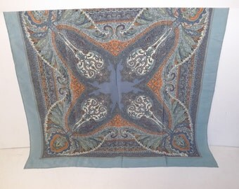 Vintage 1970s large Liberty of London silk paisley light blue square scarf designer