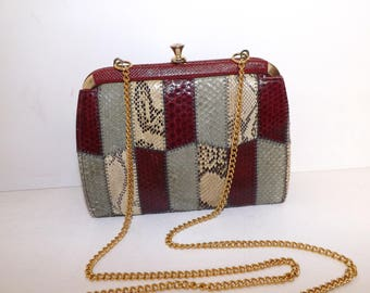 Vintage 1970s snakeskin patchwork shoulder bag clutch handbag cherry red grey beige which chain strap