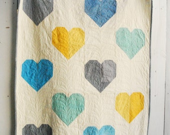 Organic Quilt LOVE WINS, Organic Quilt, Organic Heart Quilt, Aqua Cloud Doodle Backing, Hand-Dyed Organic Throw Quilt