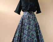 1950s Corduroy Circle Skirt Abstract Stained Glass Floral Print Size 28 waist