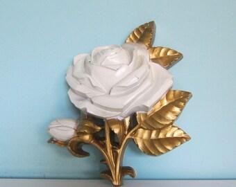 Rose Plaque, Gilded White Rose Plaque, Rose Art, Rose Wall Hanging, Romantic Rose Art, White Rose, Homco Rose Plaque, Decorative Plaque