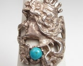 Reserved!! Vintage Sterling Silver Art Nouveau Style Crown Lady Ring Size 6 Turquoise Stone