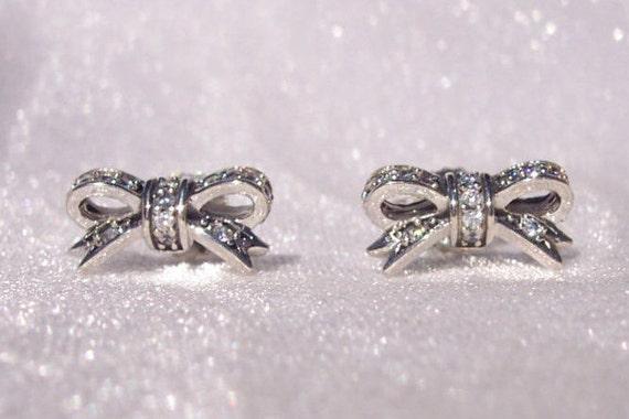 pandora sparkling bow earrings high fashion clear cz stud