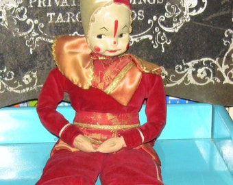 Antique Jester Clown Doll Red Vintage Unusual Gift Pierrot