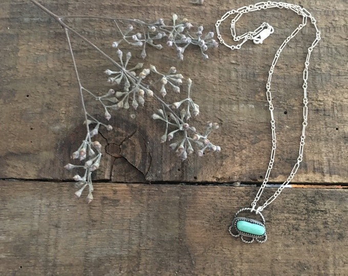 turquoise pendant necklace, .925 sterling silver jewelry, floral necklace, orvil jack turquoise, unique gifts for bohemian bride to be