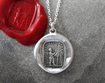 Love Is Painting Wax Seal Necklace - Painter wax seal jewelry antique easel artist Always Busy artisan motto by RQP Studio