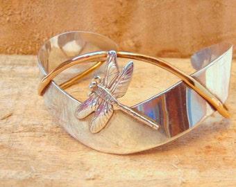 Sterling Dragonfly Cuff Bracelet By Courtney Design, Signed Courtney,Vintage