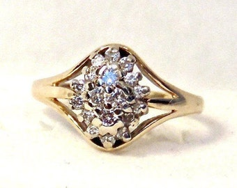 14K Diamond Cluster Ring in 14K Yellow and White Gold, Engagement Ring, Cocktail, Vintage