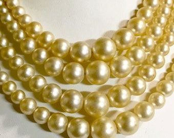 Vintage Multi Stranded Faux Pearl Necklace Japan