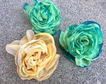 Green Flowers, Craft Supplies, Wedding Flowers, Hair Flowers, Hair Accessory, Girl's Hair Flower, Hair Pin, Yellow Flower, Hair Clip, DIY