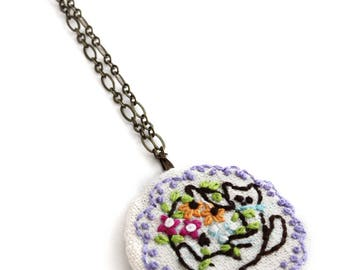 Embroidery Necklace - Necklace - Cat Necklace - Cat Jewelry - Vegan Necklace - Pendant Necklace - Hand Embroidery Necklace - Embroidered Cat