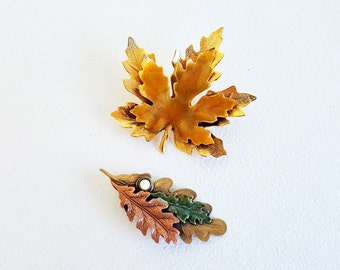 Gold Toned Set of Flower Leaf Brooches Pins Large Autumn Leaf Pins Midcentury Jewelry Copper Rose Gold Jewelry Maple Leaf Oak Leaf Pin