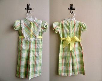 70s Baby Girl Green Plaid Romper One Piece Suit - 24 m