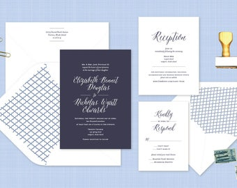 Calligraphy Wedding Invitation. Navy Letterpress Wedding Stationery. Sophisticated Invite for Classic Weddings in Blue. Nautical Wedding.