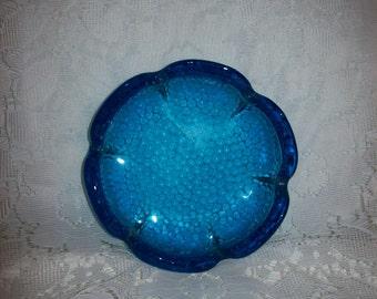 Vintage Blue 'Lotus Flower' BLENKO Art Glass Ashtray by Wayne Husted Mid Century Just 9 USD