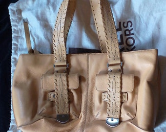 Vintage MICHAEL KORS Purse or Tote. Camel Tan Leather- New- Never Used-with Original Cloth Protective Bag