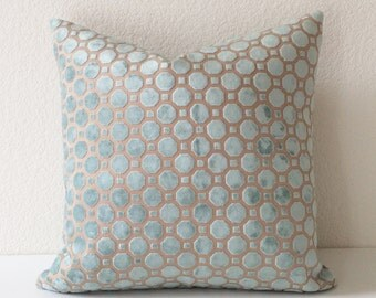 Mineral blue aqua geometric cut velvet decorative pillow cover