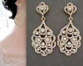 Gold chandelier earrings - Crystal wedding earrings ~ Brides earrings - Gold peacock earrings ~ Statement earrings -  - Bridal jewelry