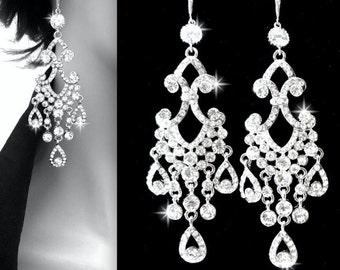 "Chandelier earrings ~ 4"" Long ~ Rhinestone earrings ~ Sterling Silver ear wires ~ Bridal jewelry ~ Pageant jewelry ~ Statement earrings"
