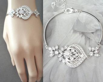 Cubic Zirconia bracelet ~ Brides bracelet ~ Wedding bracelet ~ Bridal jewelry ~ Marquise cut ~ Leaf design ~ High quality ~ Lux ~ LILLY
