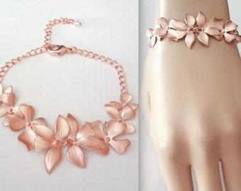 Rose gold orchid Bracelet, Destination wedding jewelry, Brides rose gold bracelet, Bridesmaids bracelet, Rose gold wedding bracelet, Gift