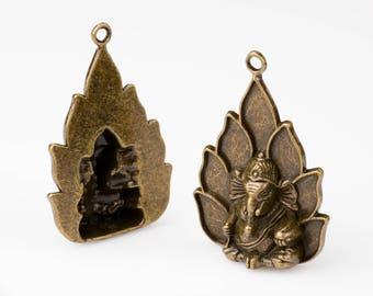 Ganesh Pendants (Quantity: 22). Jewelry Making Supply. Bronze Charms.