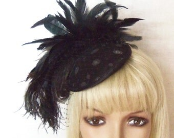 Ladies Black Hat - Mini Hat with Polka Dots