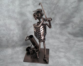 Vintage Hand Made Metal Golfer with Bag and Golf Clubs WONDERFUL