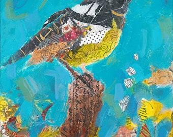 Bird Original Mixed Media Painting