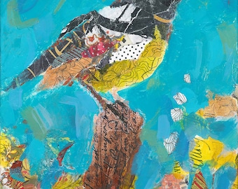 Bird Original Mixed Media Painting, free shipping