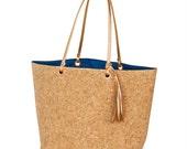 SALE * Monogrammed Navy Carlton Cork Tote Bag / Personalized Cork Tote / Monogrammed Fashion Cork Tote Bag / Monogrammed Cork Material Tote