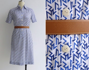 Vintage 80's Zig Zag Print Op Art Shirt Dress XS or S
