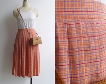 10-25% OFF Code In Shop - Vintage 80's Orange Checkered Plaid Pleated High Waist Skirt S