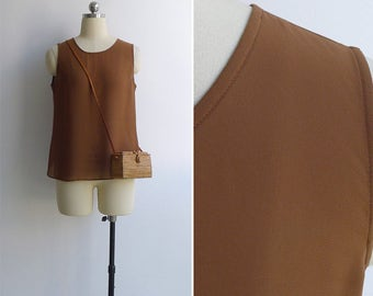 Vintage 90's Sheer Cocoa Brown Tank Top XS or S