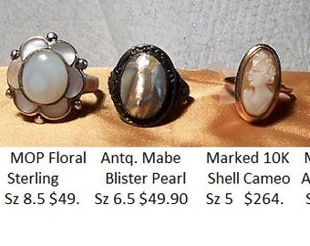 1 GOLD CAMEO Ring Marked 10K Shell Cameo Ring,    Hand Carved Shell Cameo Vintage Ring,  Size 5 Only 264.00