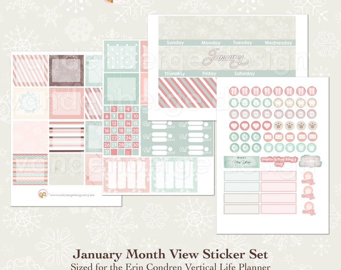January Month View Kit for Erin Condren Life Planner or The MAMBI Happy Planners