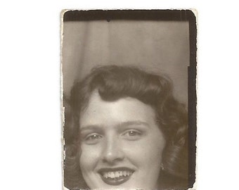 """Vintage Snapshot """"Closeup"""" Pretty Girl Photobooth Photo Bad Crop Out Of Frame Found Vernacular Photo Booth Snapshot"""