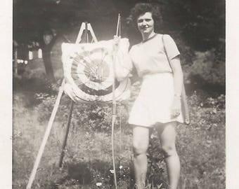 "Vintage Snapshot ""Bullseye!"" Archery Target Arrows Found Vernacular Photo"