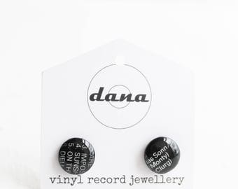 record stud earrings vinyl record post earrings black studs 10 mm funky jewelry music jewelry resin ear posts unique geek gift idea for her