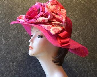 NEW LOWER PRICE! Kentucky Derby Hat, Garden Party Hat, Tea Party Hat, Easter Hat, Church Hat, Wedding Hat, Derby Hat, hat  Fuchsia Hat 318