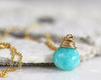 Amazonite Necklace - Green Teardrop Necklace - Amazonite Pendant in Silver or Gold - Green Gemstone Necklace - Amazonite Jewelry