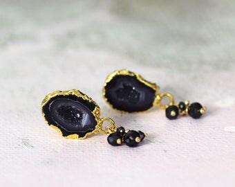 Geode Stud Earrings - Black Geode Earrings - Diamond Studs - April Birthstone - Gemstone Stud Earrings - Geode Jewelry - LAST PAIR